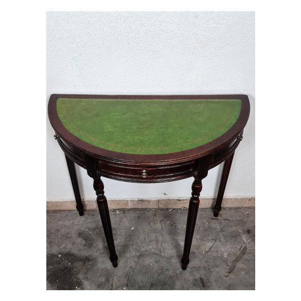 Bőrborítású félköríves tömör mahagóni konzolasztal