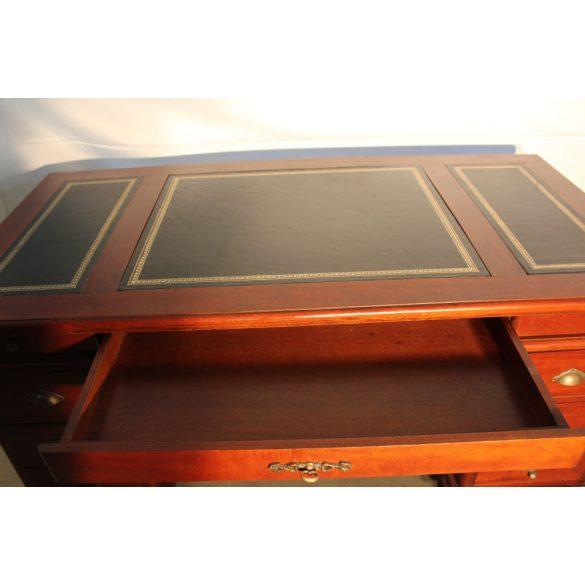 Tömör mahagóni,bőrlapos,térbe állítható íróasztal