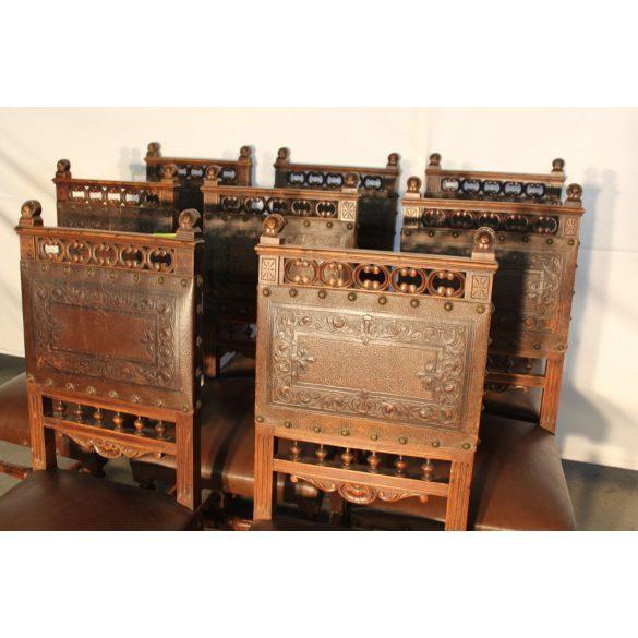 Antik reneszánsz stílusú bőr székek