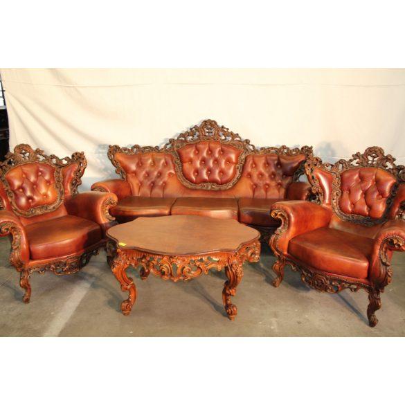 Csodaszép,dúsan faragott barokk chesterfield ülőgarnitúra