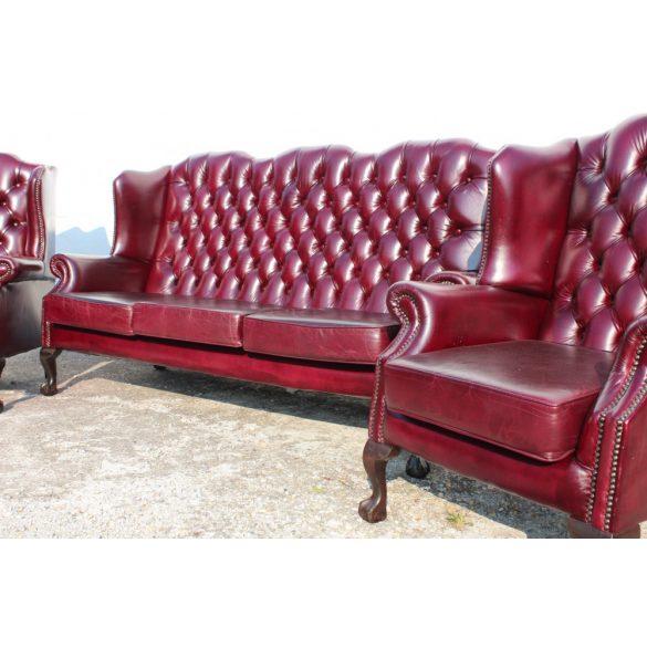 Antik burgundi színű chesterfield Quuen Anne bőr ülőgarnitúra