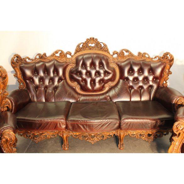 Antik chesterfield,dúsan faragott barokk bőr ülőgarnitúra