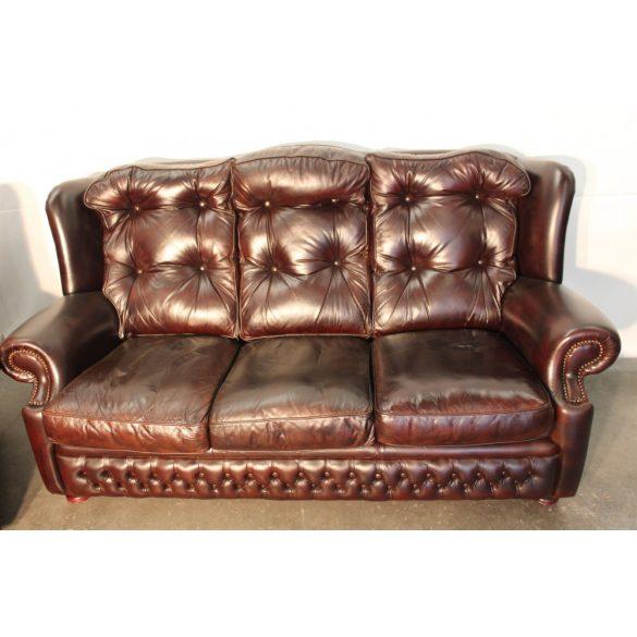 Antik konyak színű chesterfield bőr kanapé