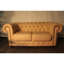 Chesterfield krém színű bőr kanapé