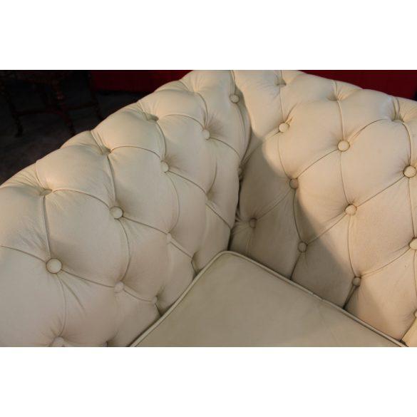 Chesterfield krém színű sarok bőr ülőgarnitúra