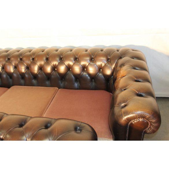 Antik konyak színű chesterfield bőr ülőgarnitúra 3-2