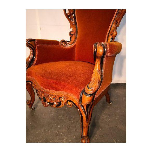 Csodaszép,dúsan faragott antik barokk fotel