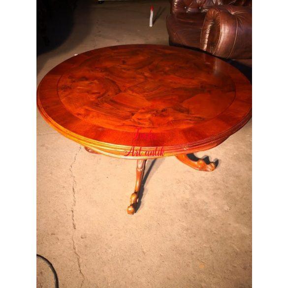 Neobarokk,intarziás kerek dohányzó asztal