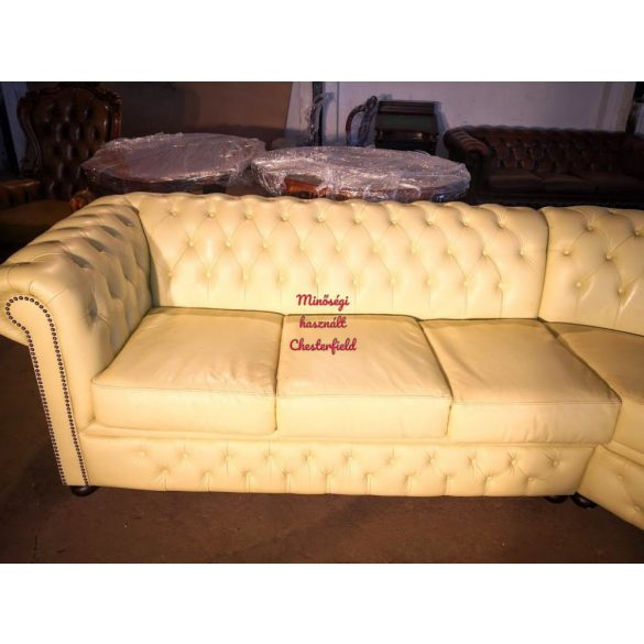 Chesterfield, krém színű,valódi bőr sarok ülőgarnitúra
