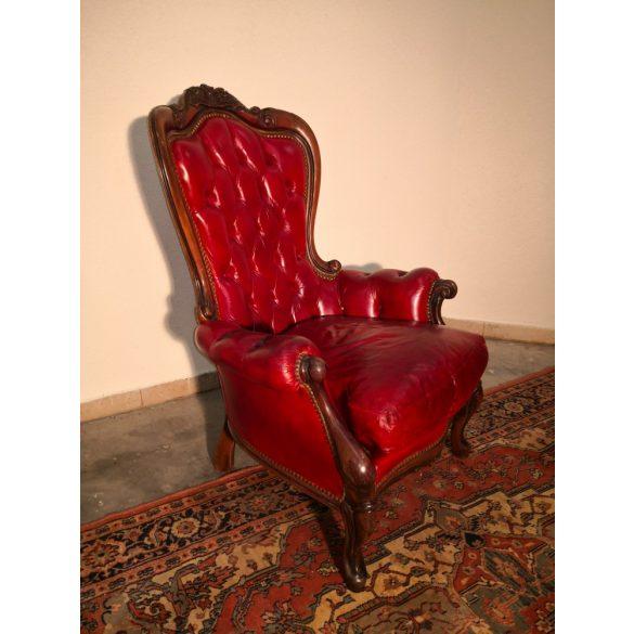 Chesterfield neobarokk bőr fotel