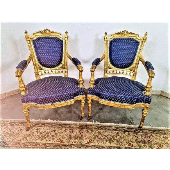 Gyönyörű eredeti antik,frissen felújított Francia aranyozott székek!(megbontva is!)