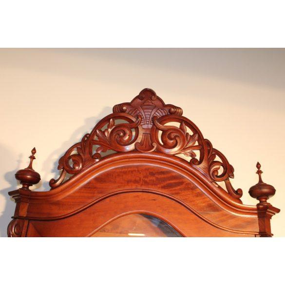 Antik biedermeier vitrin,hatalmas korona faragással