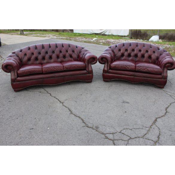 Chesterfield, antik burgundi színű bőr ülőgarnitúra 3-2