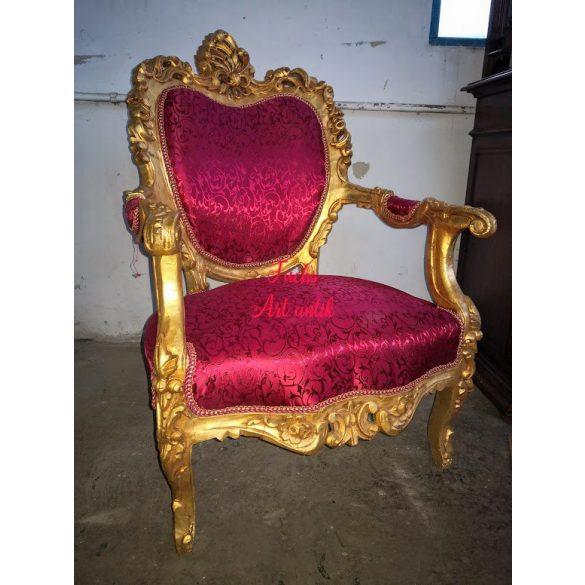 Aranyozott faragott királyi barokk fotel