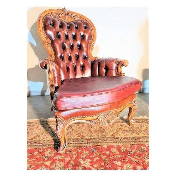 Antik barokk chesterfield bőr fotel
