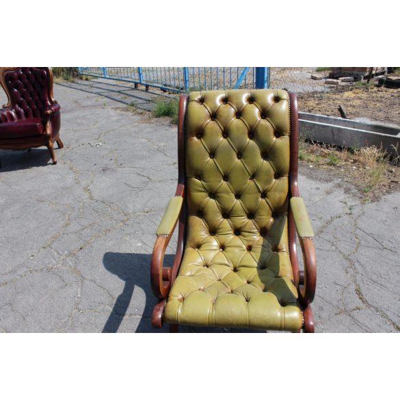 Chesterfield, antik zöld színű,valódi bőr pihenő fotel+lábtartó