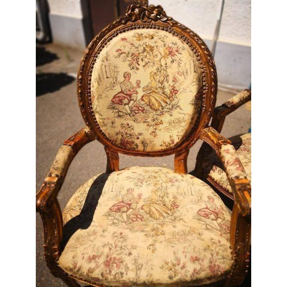 Antik Francia gobelin szövésű ülőgarnitúra