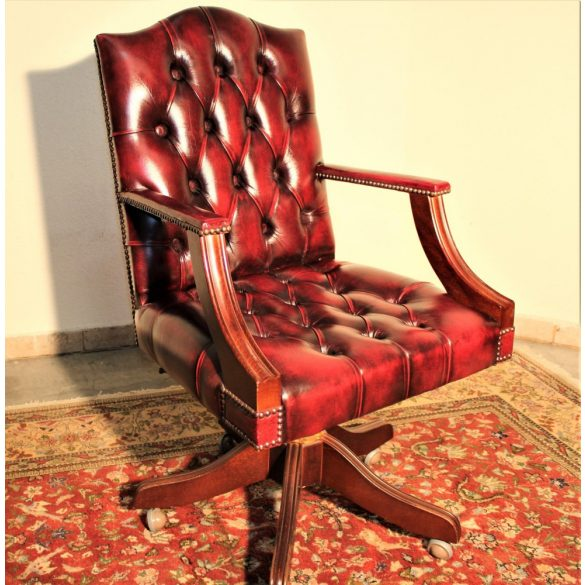 Antik burgundi színű eredeti chesterfield forgószék,íróasztalszék.