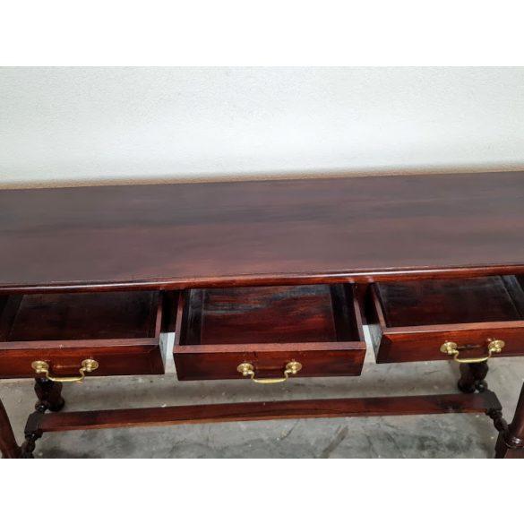 3 fiókos tömör mahagóni konzolasztal