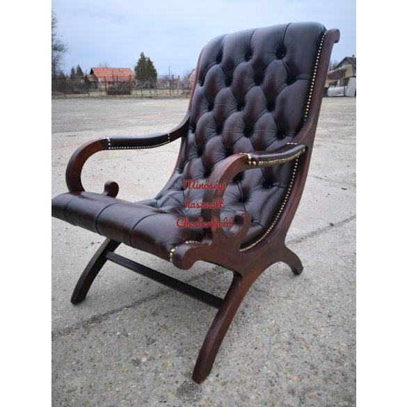 Eredeti chesterfield antik pihenő bőr fotel