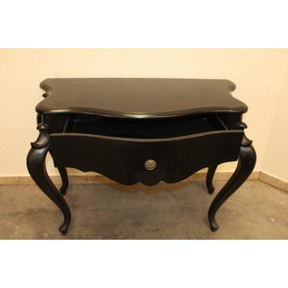 Fekete színű,barokk stílusú konzolasztal