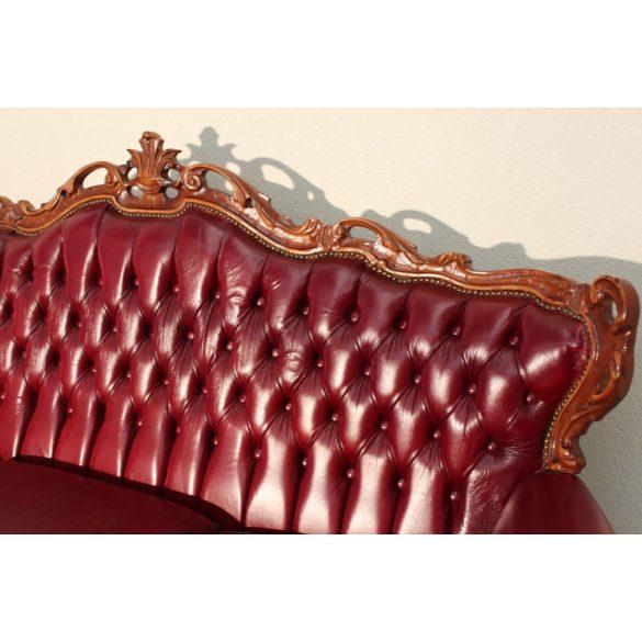 Antik, burgundi szinű, chesterfield barokk bőr kanapé
