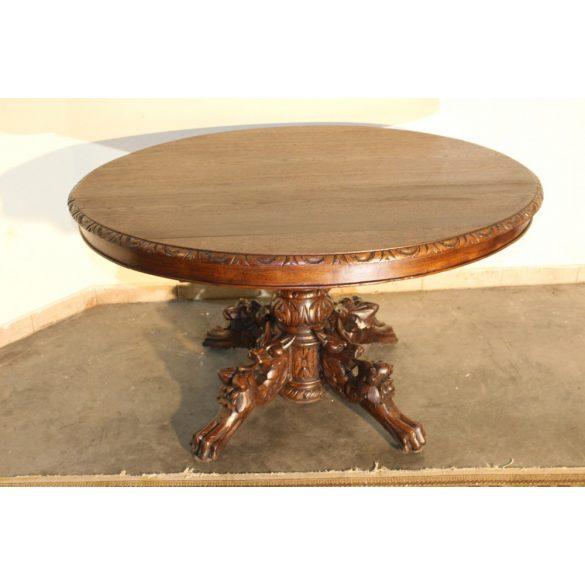 Frisse felújított,antik reneszánsz stílusú dúsan faragott asztal