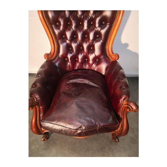 Chesterfield barokk bőr fotel
