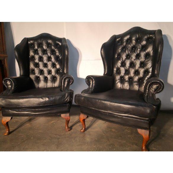 Antik chesterfield füles bőr fotelek