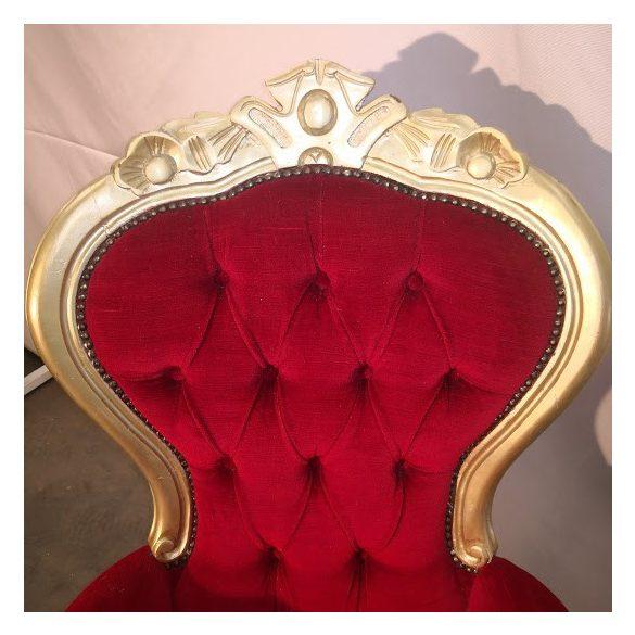 Aranyozott bordó plüss fotel