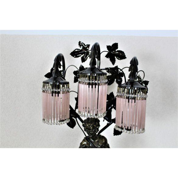 Gyönyörű antik üvegfüggős szobros lámpa