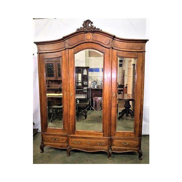 Antik neobarokk régi tükrös gardrob szekrény