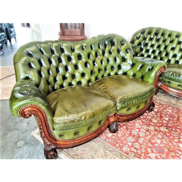 Csodaszép eredeti chesterfield bőr ülőgarnitúra 3-2-1!