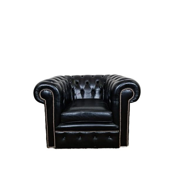 Chesterfield fekete bőr fotel
