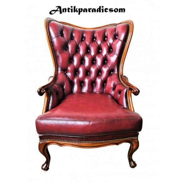 Gyönyörű chesterfield neobarokk antik bőr fotel