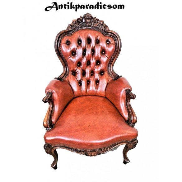 Antik neobarokk  bőr fotel