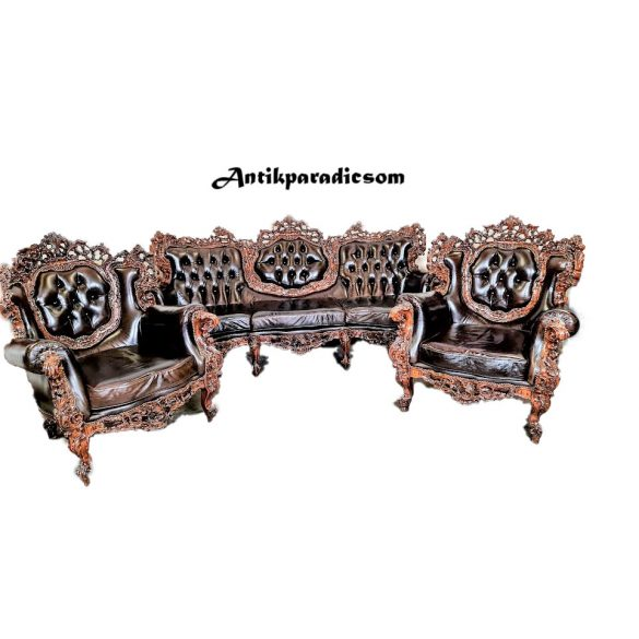 Dúsan faragott barokk rokokó bőr chesterfield ülőgarnitúra