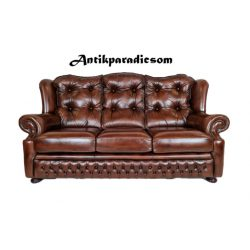 Eredeti chesterfield antik konyak színű bőr kanapé