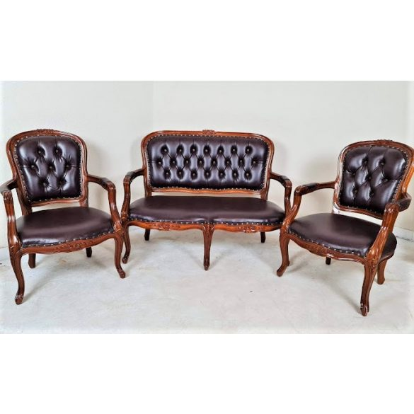 Gyönyörű antik barokk stílusú bőr ülőgarnitúra