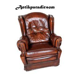 Eredeti chesterfield antik konyak színű bőr fotel