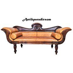Antik ottomán kézzel varrott bőr kanapé, szófa