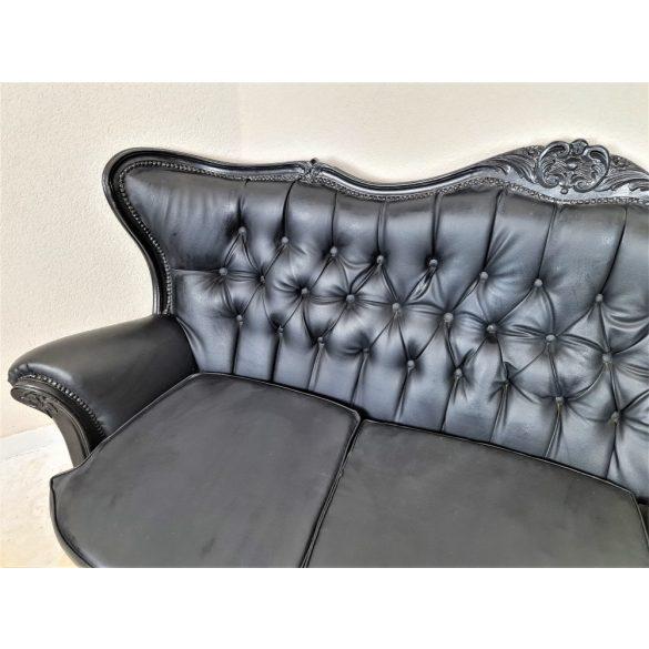 Barokk fekete színű műbőr kanapé