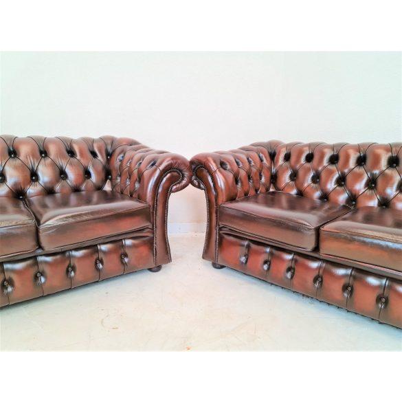 Gyönyörű eredeti chesterfield bőr ülőgarnitúra 3-2