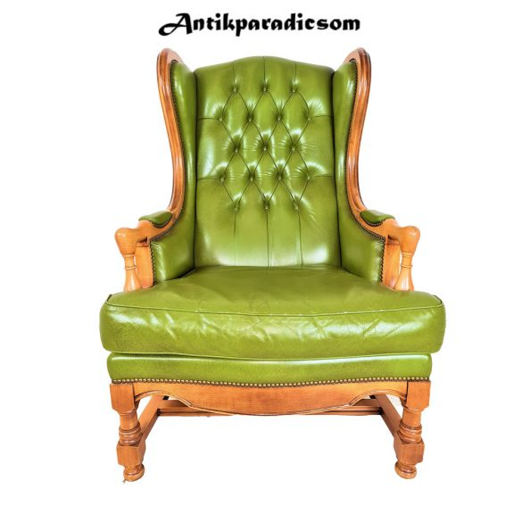 Antik barokk kivizöld bőr fotel