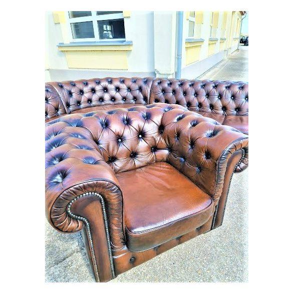 Gyönyörű eredeti chesterfield antik konyak színű bőr sarok ülőgarnitúra