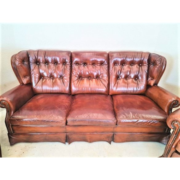 Gyönyörű eredeti antik chesterfield bőr ülőgarnitúra 3-1-1