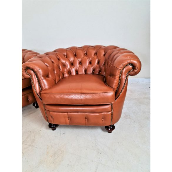 Gyönyörű chesterfield bőr ülőgarnitúra 3-1-1