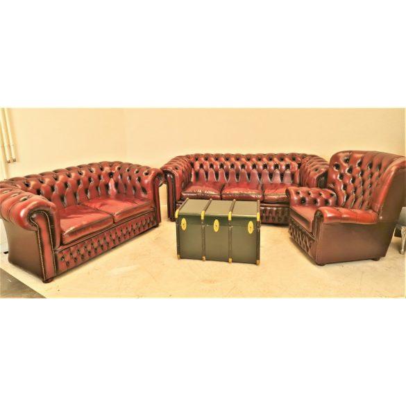 Gyönyörű chesterfield antik burgundi színű bőr ülőgarnitúra 3-2-1