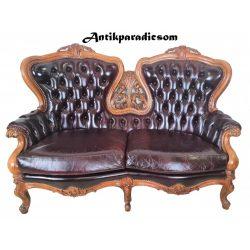 Antik barokk chesterfield bőr kanapé