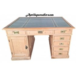 Antik Angol iker bőrlapos íróasztal